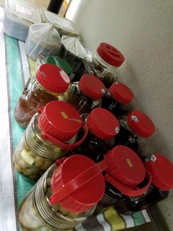 地下室の宝物たち。 ゆすらうめ酒、つるにんじん酒、梅酒、にんにくの醤油漬けなど。
