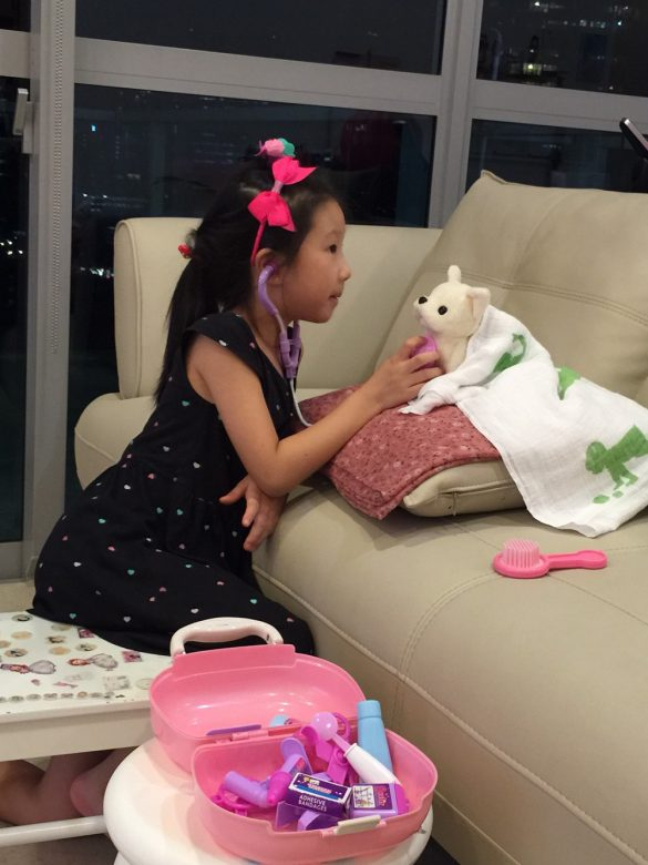 問診中のドクターソフィ。シンガポールじゃ、ぬいぐるみのワンちゃんも英語がわかるのかしら(笑)