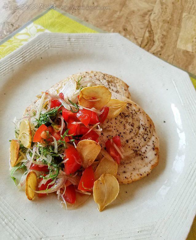 レシピ_めかじきのにんにく焼き・香味野菜のせ